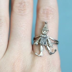 Vintage Sterling Silver Clown Ring